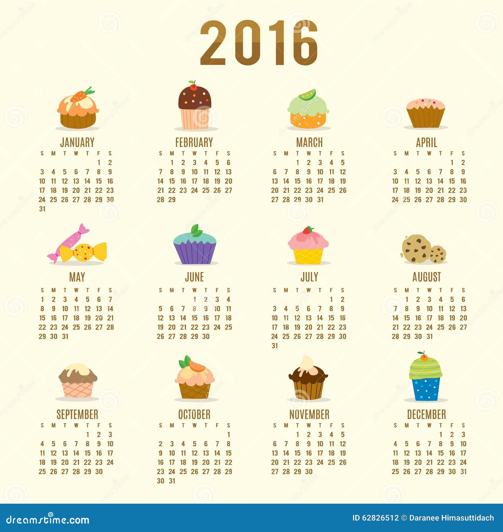 Calendar 2016 Cupcake Cartoon Cute Vector Stock Illustration - Image ...