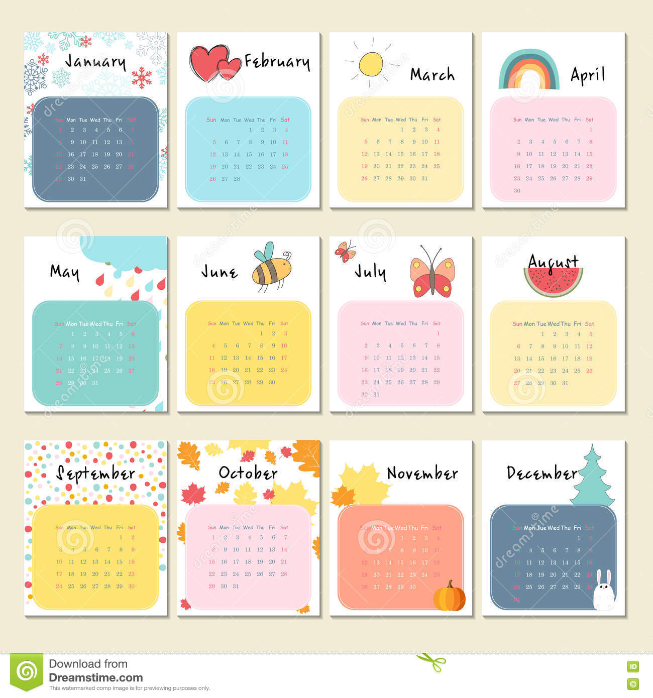 Calendar 2017 With Cute Animals Insects And Other Stock
