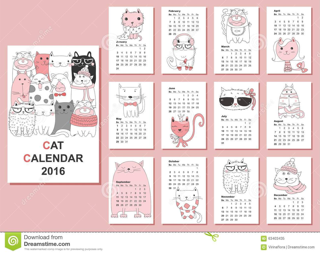 Calendar 2016. Cute Cats For Every Month,vector Stock Illustration ...