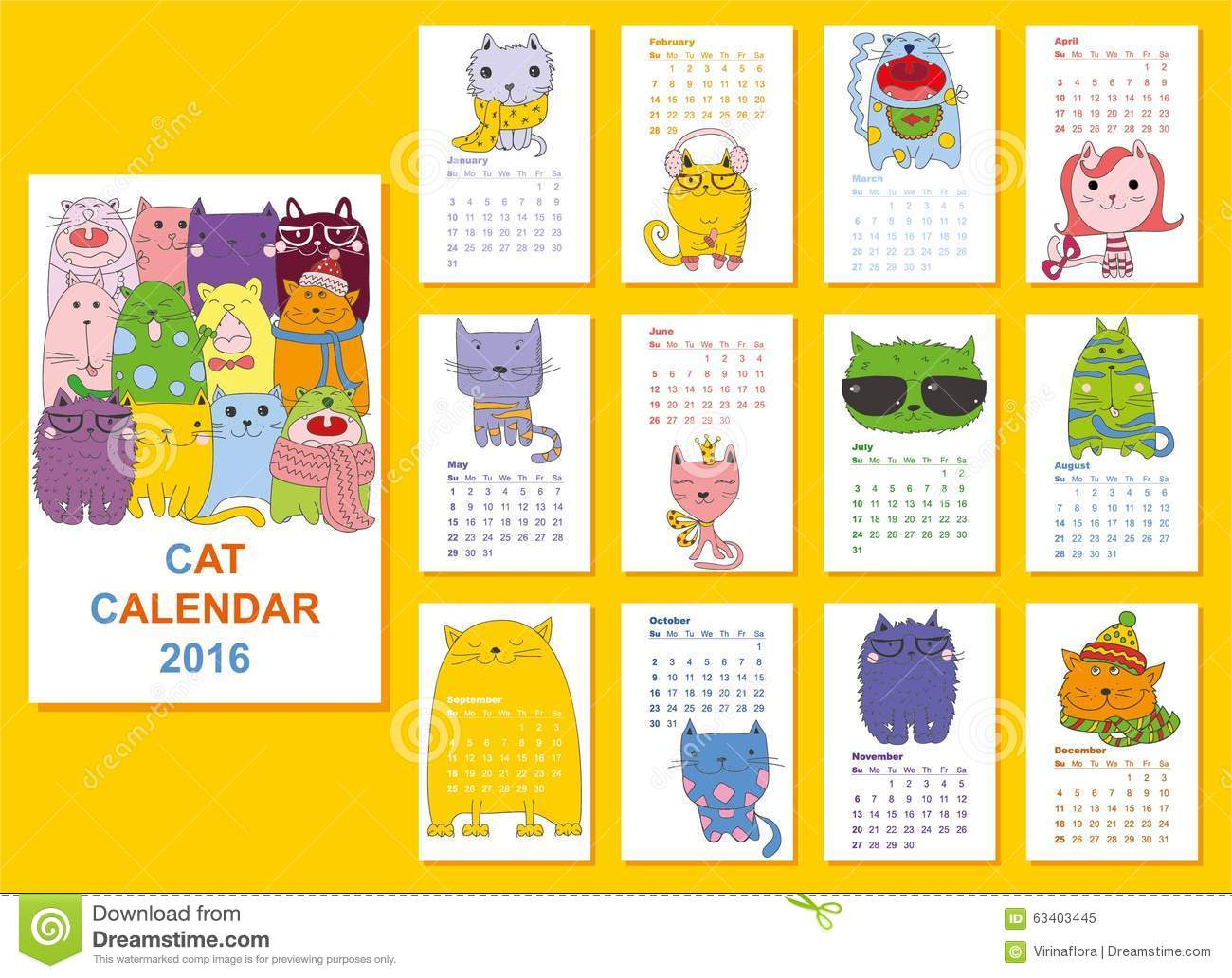 Calendar Month Illustration : Calendar cute cats for every month vector stock