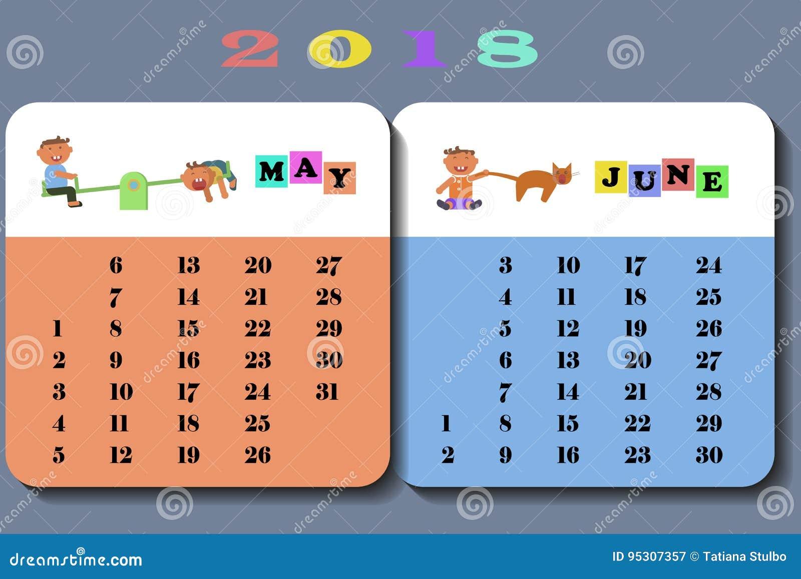 Xs Calendar May : Calendar with cute children stock vector