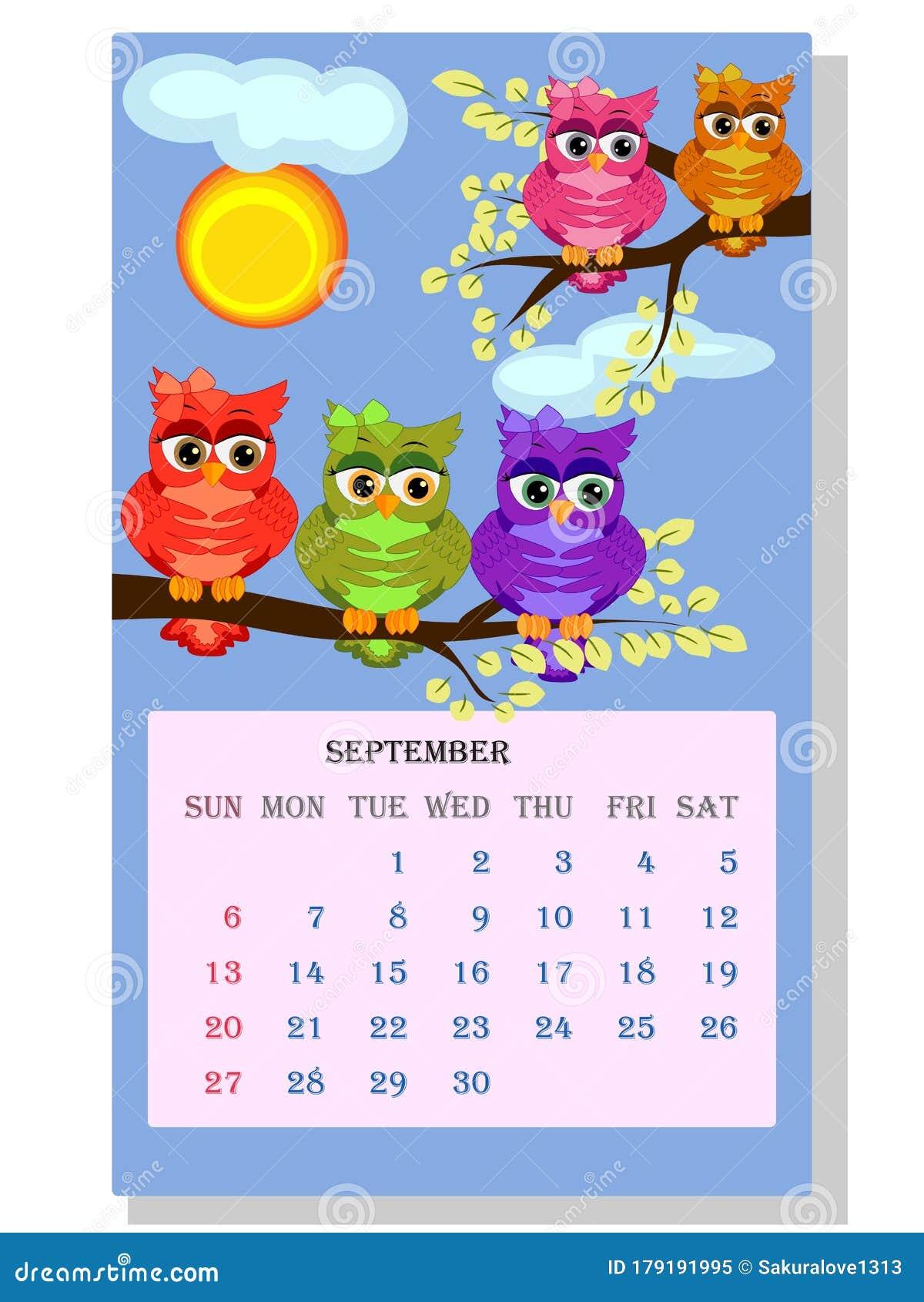 Uw 2021-2022 Calendar Calendar 2021. Cute Calendar With Funny Cartoon Owls Stock