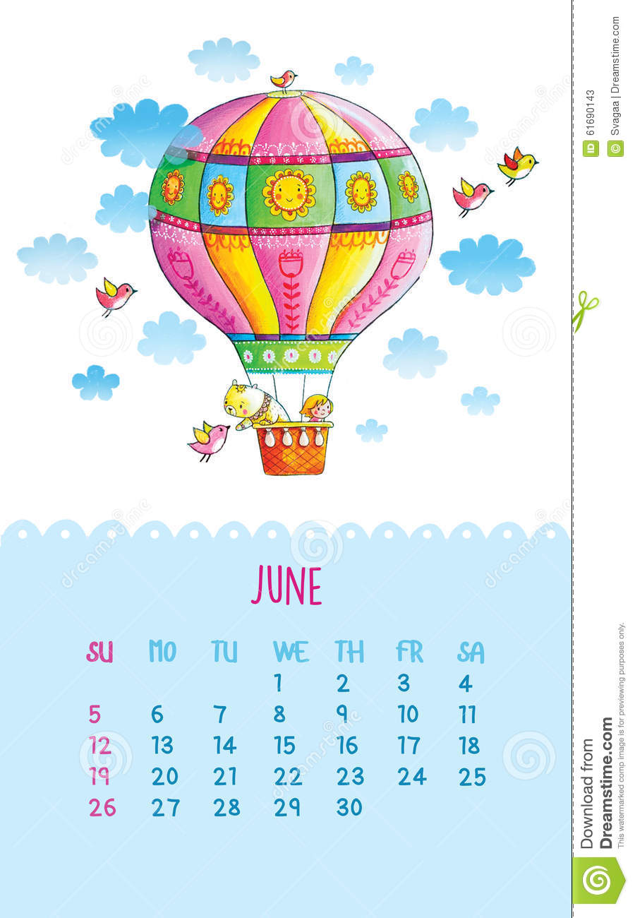 Calendar Illustration Yahoo : Calendar for with cute illustrations by hand stock