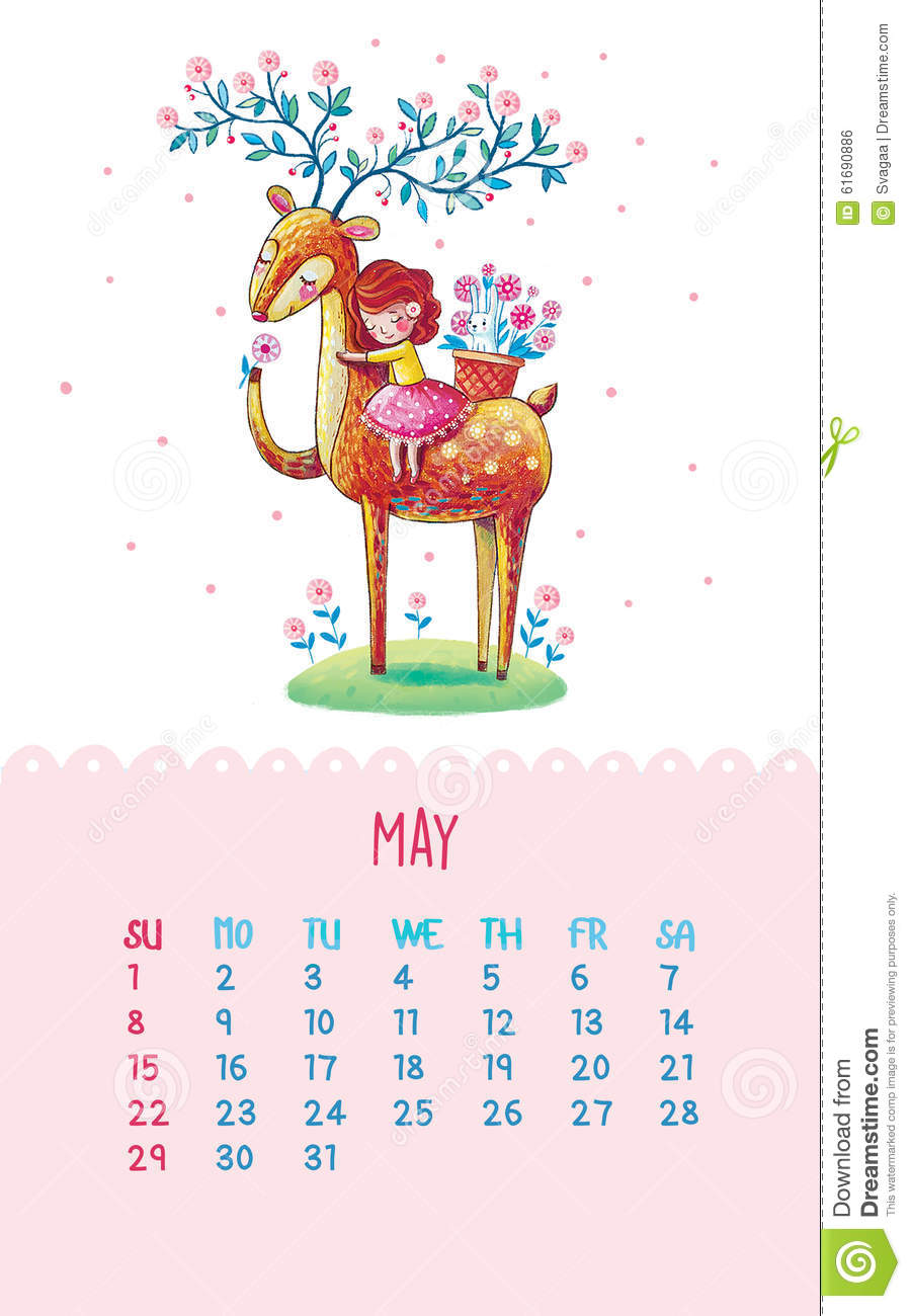 Cute Calendar Illustration : Calendar for with cute illustrations by hand stock