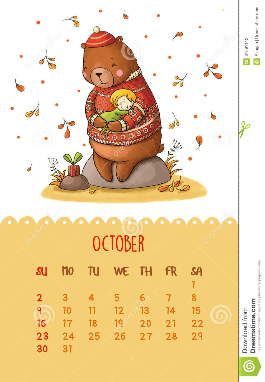 October Calendar Illustration : Calendar for with cute illustrations by hand stock