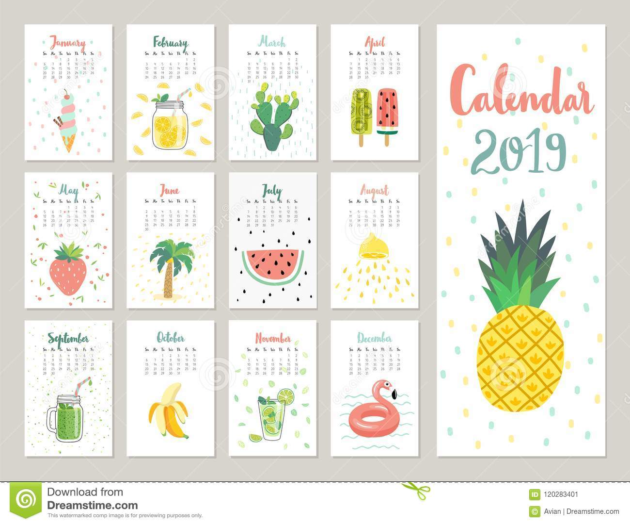 Calendar 2019 Cute Monthly Calendar With Lifestyle Objects Fruits