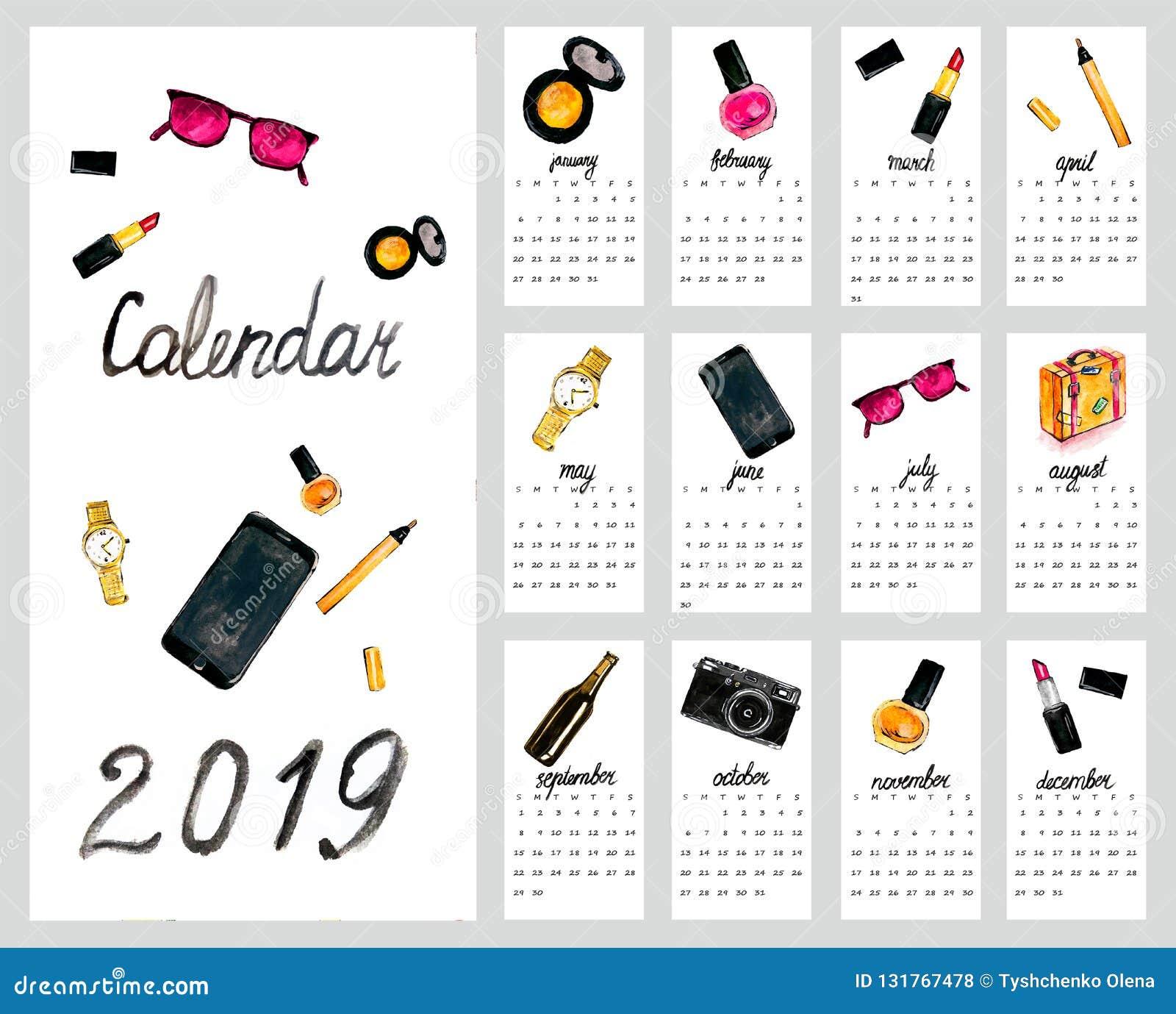 Illustration Calendrier.Calendar 2019 Cute Monthly Calendar With Women S