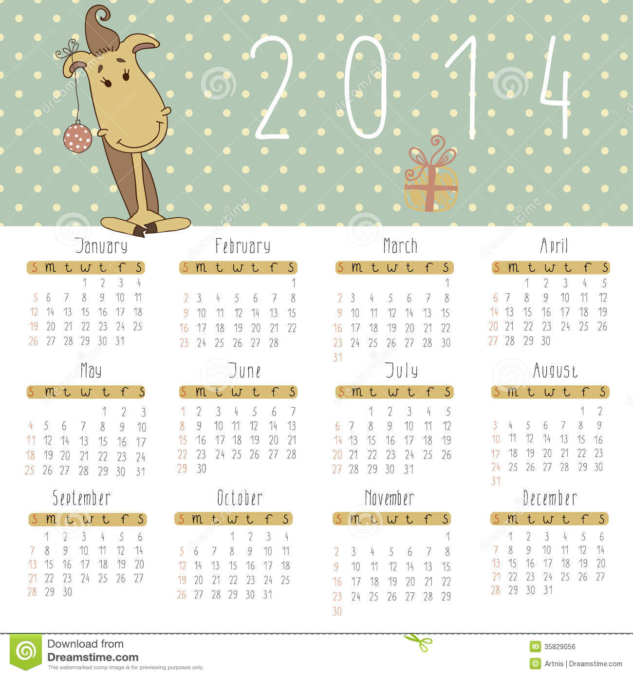 Calendar For 2014 With Cute New Year Horse Stock Vector