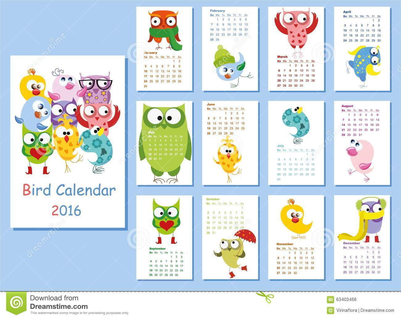 Cute Calendar Illustration : Calendar cute owls and birds vector stock