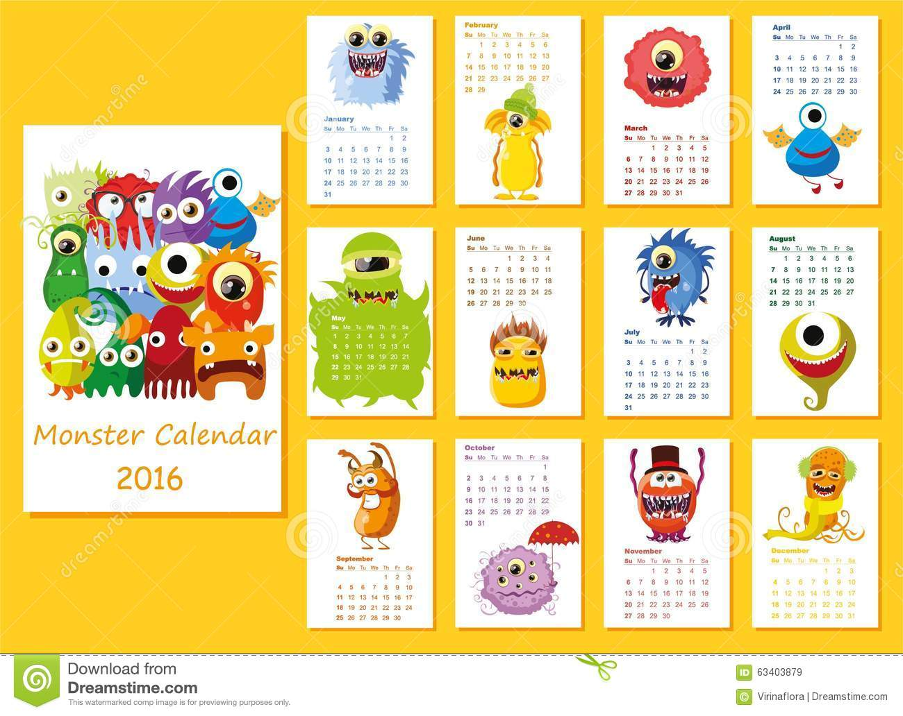 Calendar Month Illustration : Calendar cute owls for every month vector stock