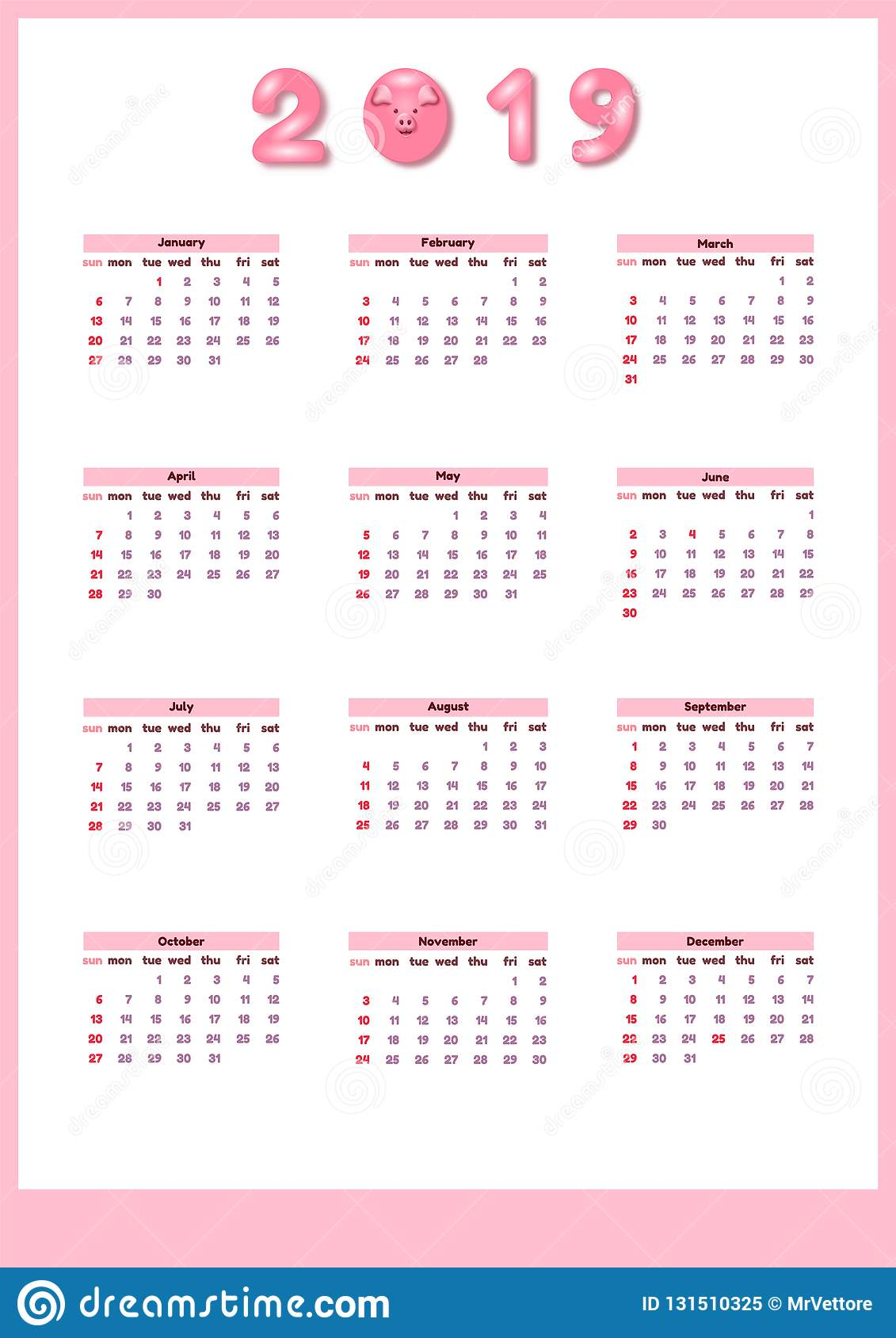calendar for 2019 with cute pink color pig  vector