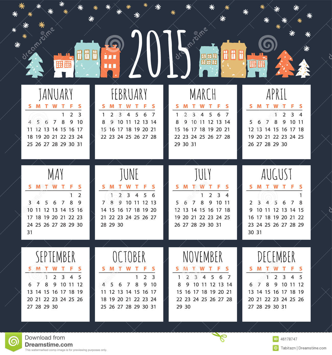 calendar 2015 with cute winter houses  illustration stock