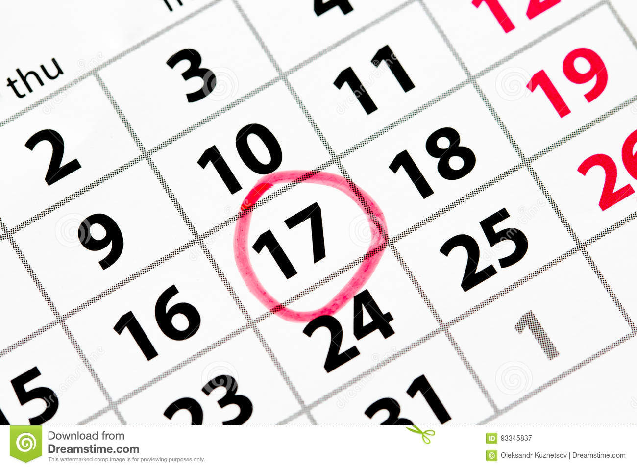 Calendar Date.Calendar With Date Circled In Red Stock Image Image Of Organizer
