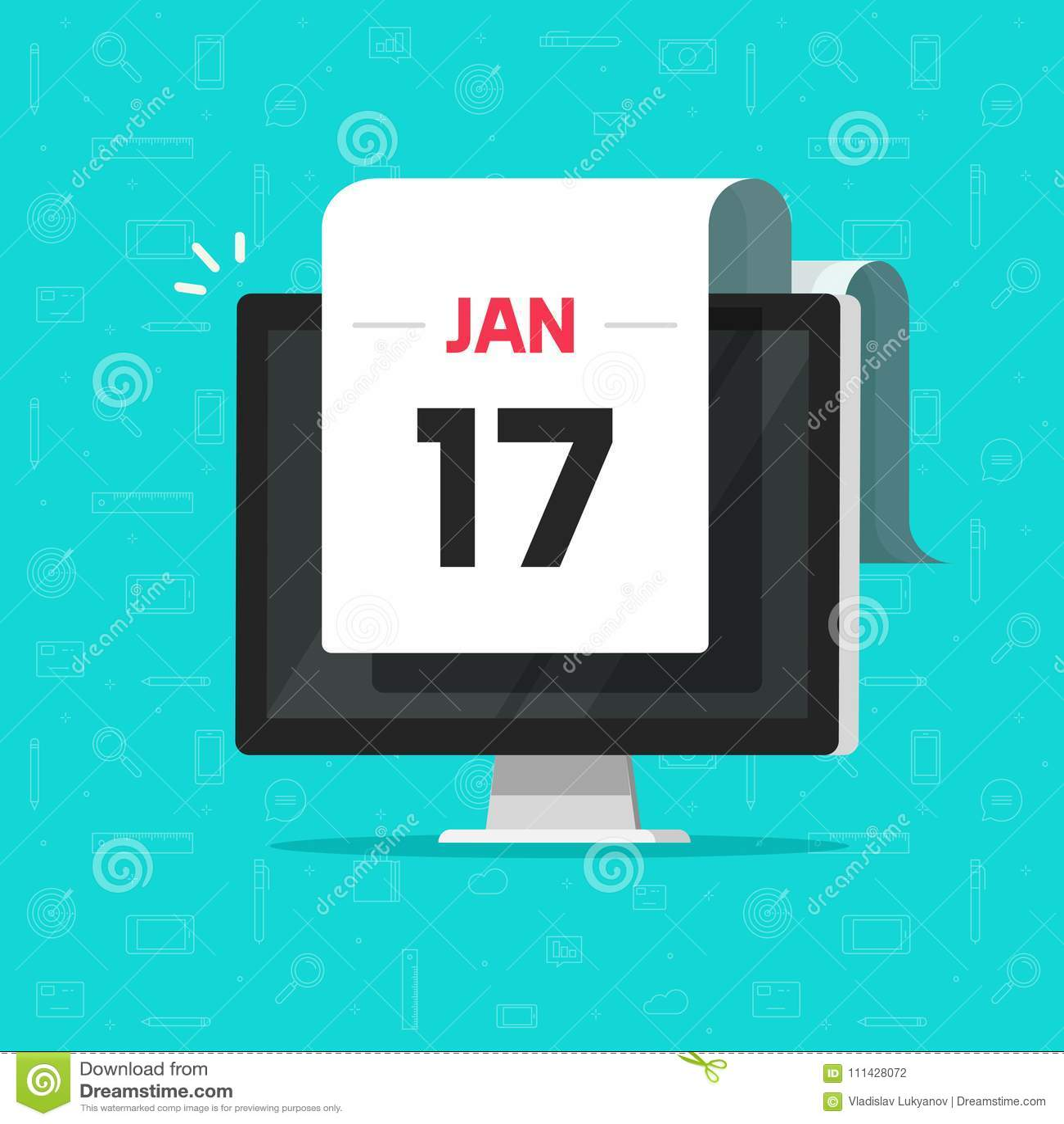 Calendar date on computer screen vector illustration, flat cartoon calendar on desktop pc display, idea of online agenda