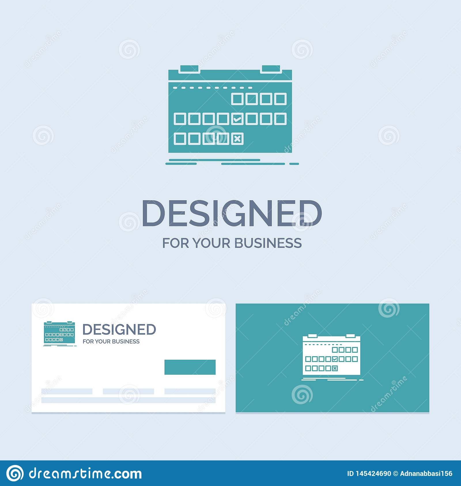 Calendar, date, event, release, schedule Business Logo Glyph Icon Symbol for your business. Turquoise Business Cards with Brand