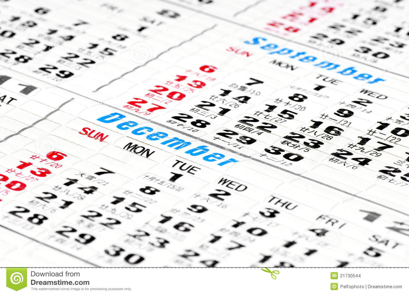 Calendar Days. Stock Images - Image: 21730544