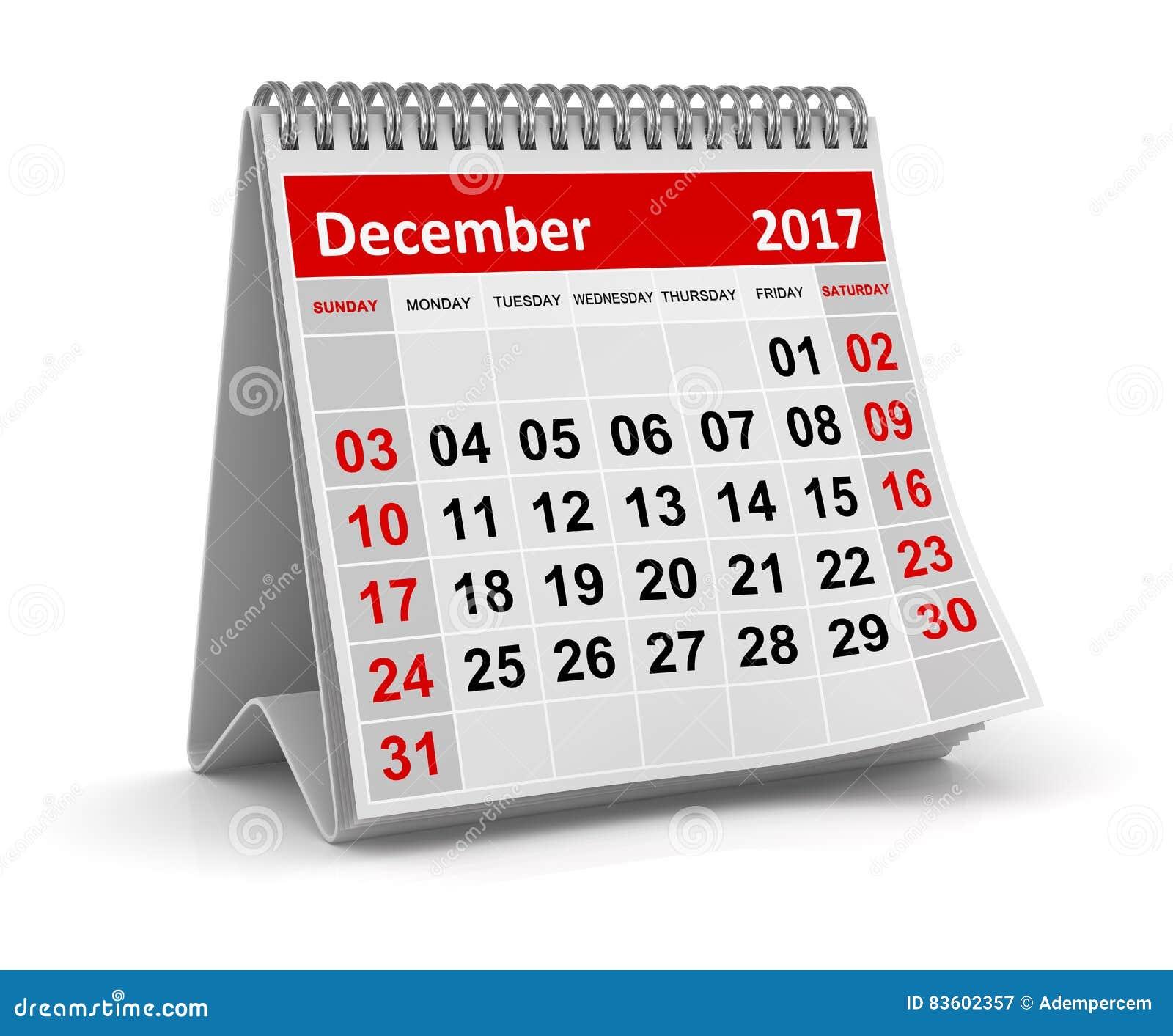 Calendar - December 2017