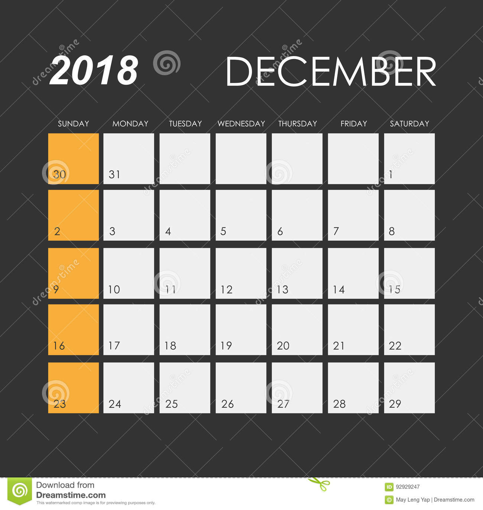 Calendar for December 2018