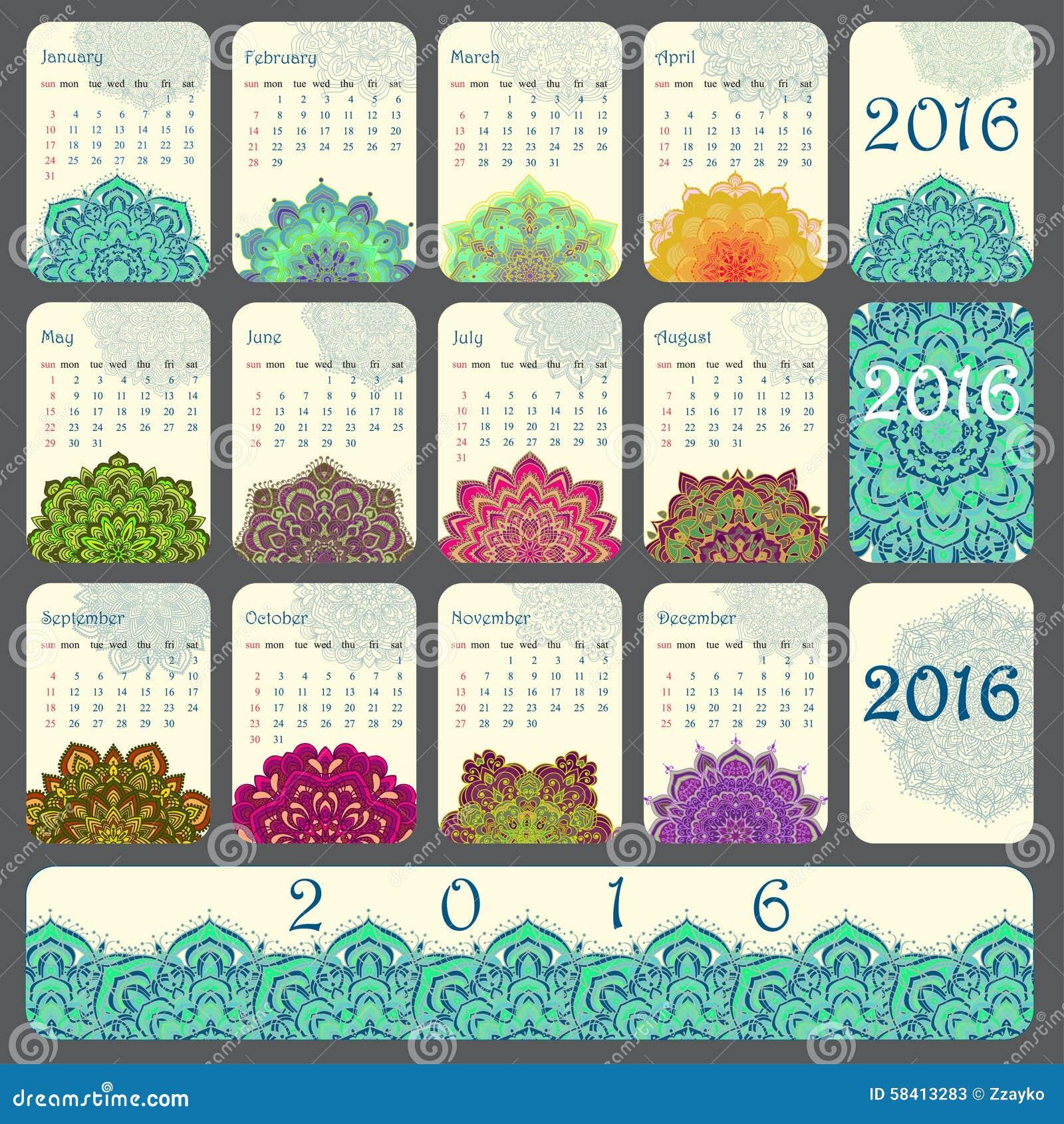 Stock Illustration: 2016 Calendar decorated with circular flower ...