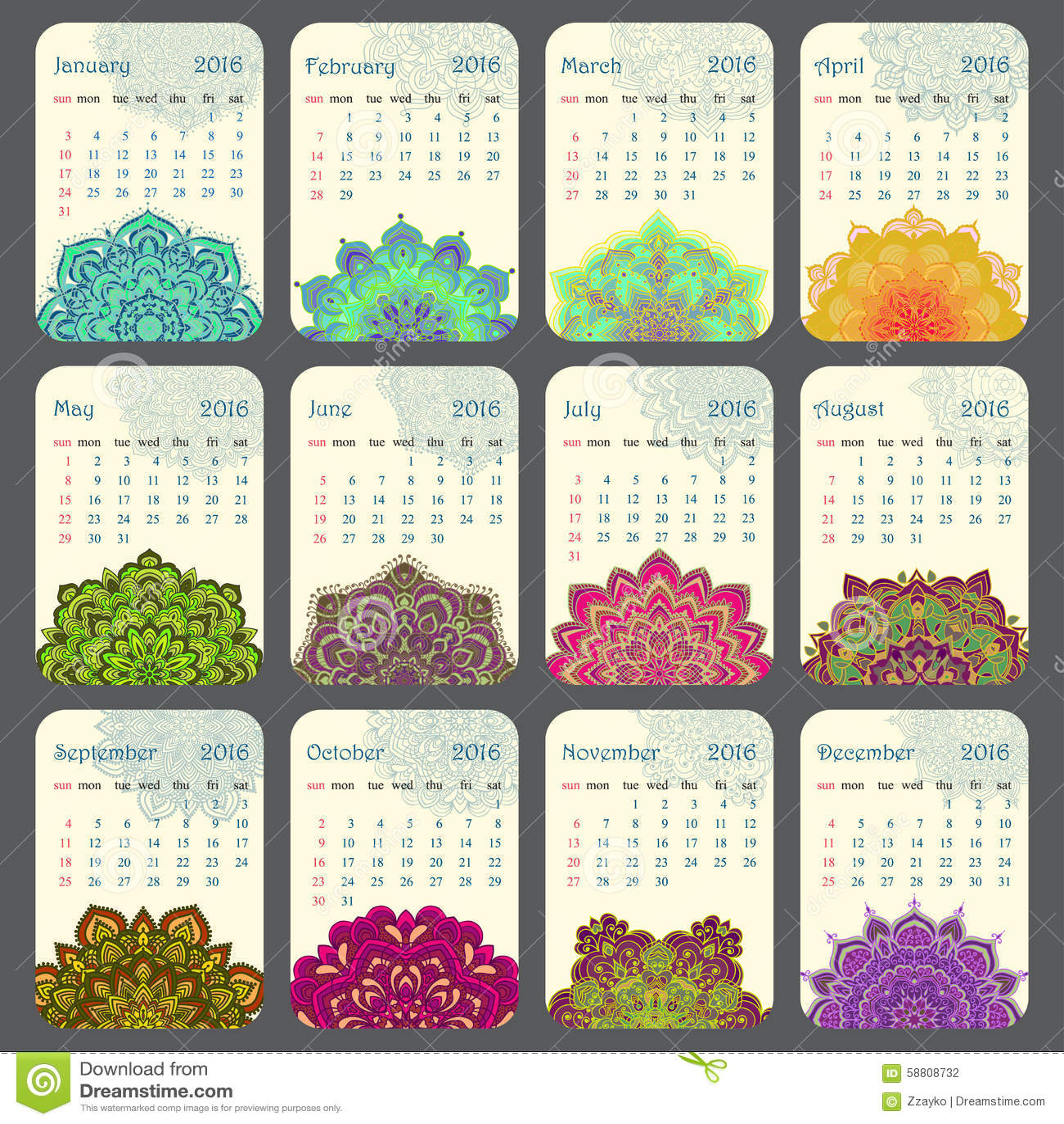 Calendar Illustration Ideas : Calendar decorated with circular flower mandala stock
