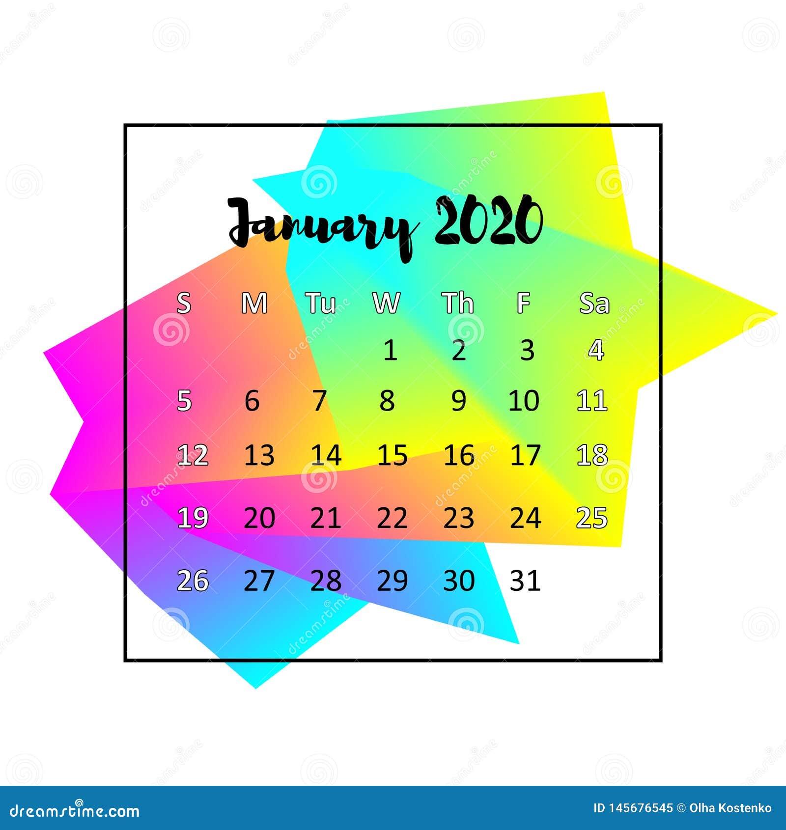 January 2020 Calendar Design 2020 Calendar Design Abstract Concept. January 2020. Stock Vector