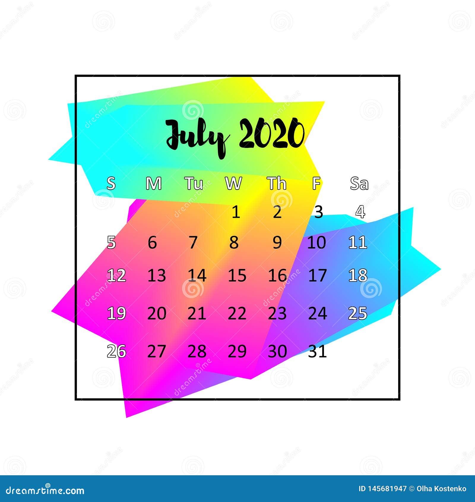 July Calendar 2020.2020 Calendar Design Abstract Concept July 2020 Stock Vector