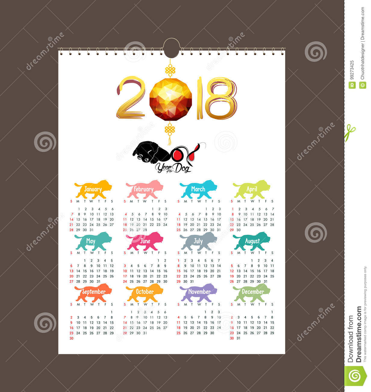 Calendar 2018 Design Chinese New Year The Year Of The Dog