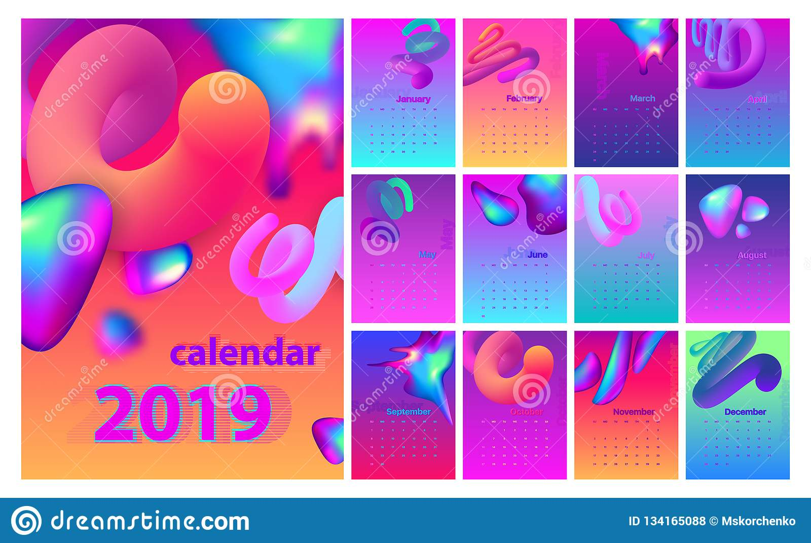 Cool Calendars 2019 Abstract Minimal Calendar Design For 2019. Colorful Set. Stock
