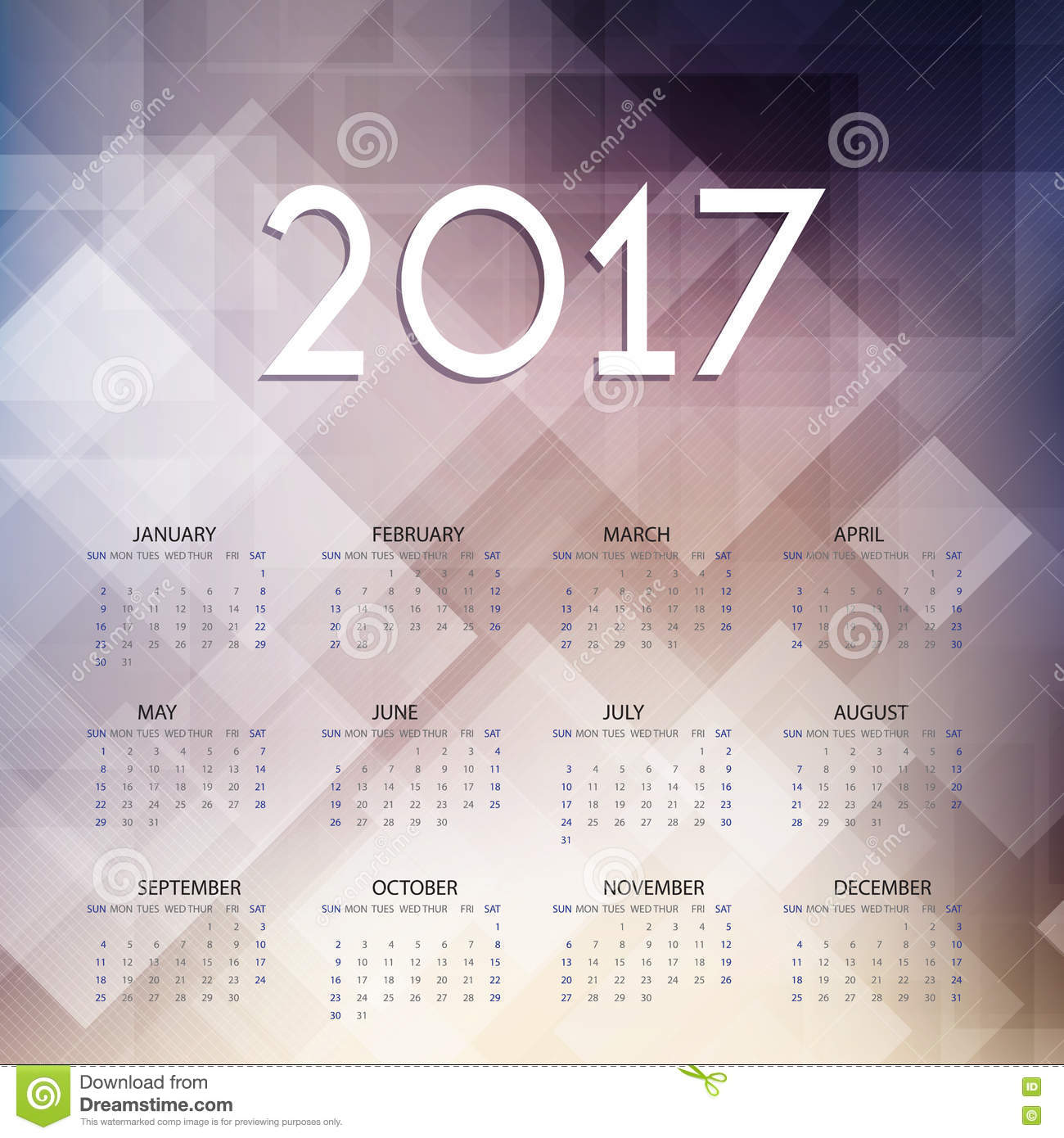 Calendar design for 2017 stock vector image 77027881 for Architecture 2017