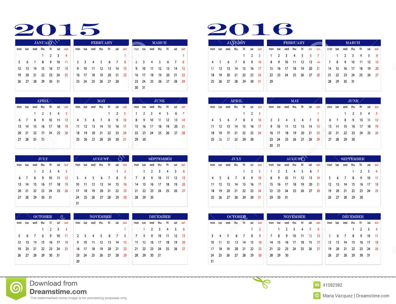 Calendar 2015 And 2016 Stock Vector - Image: 41082382