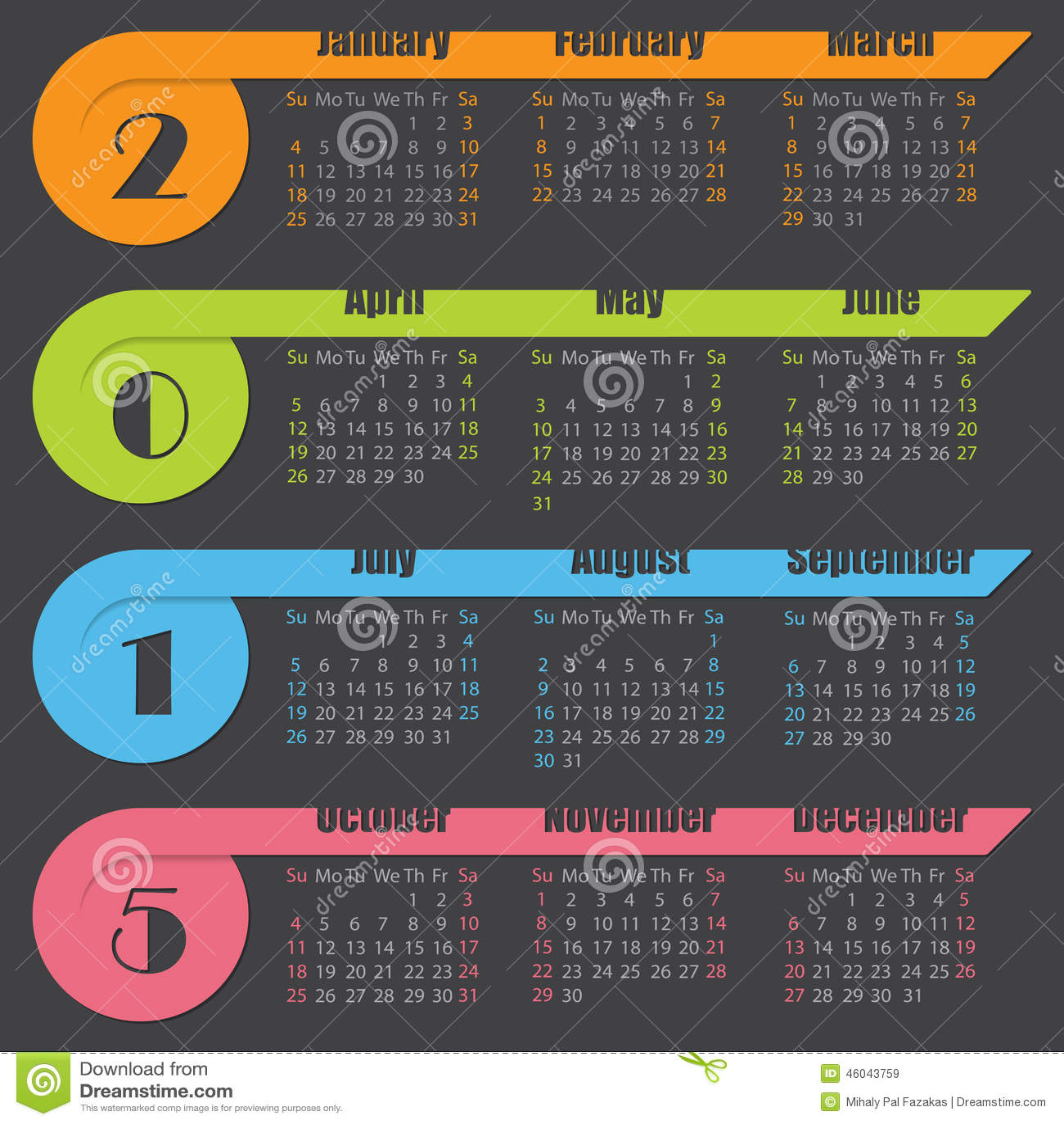 Calendar Ribbon Design : Calendar design with ribbons stock illustration