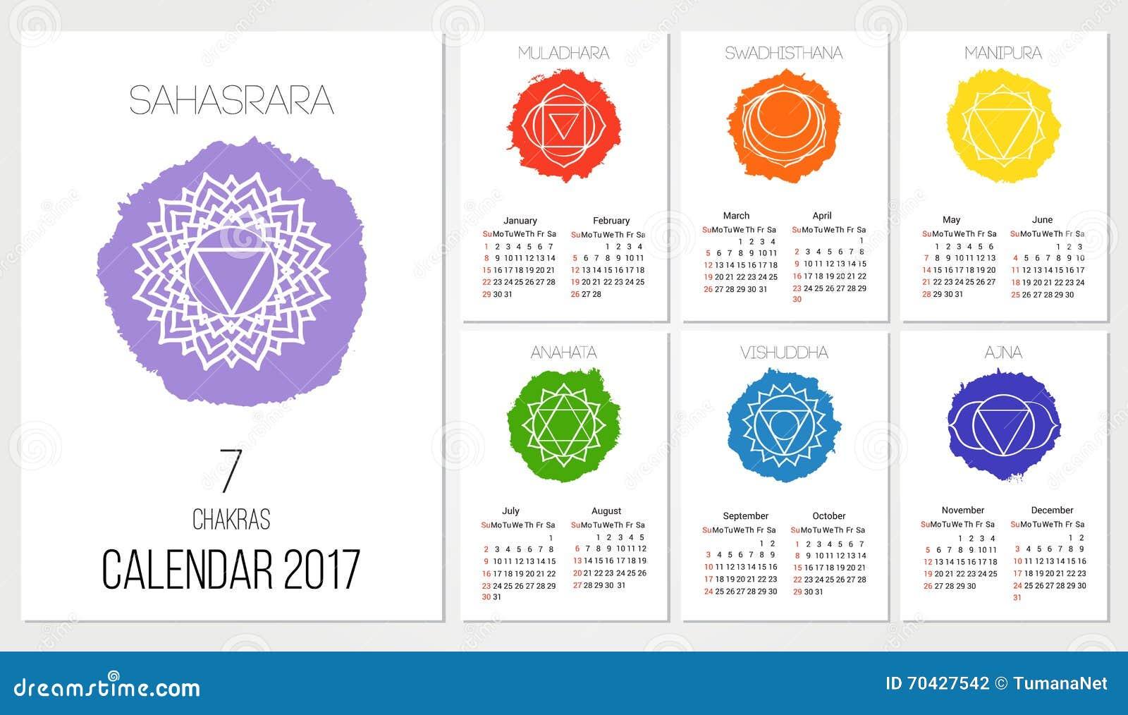 Hindu Calendar Design : Calendar design template with chakras set of