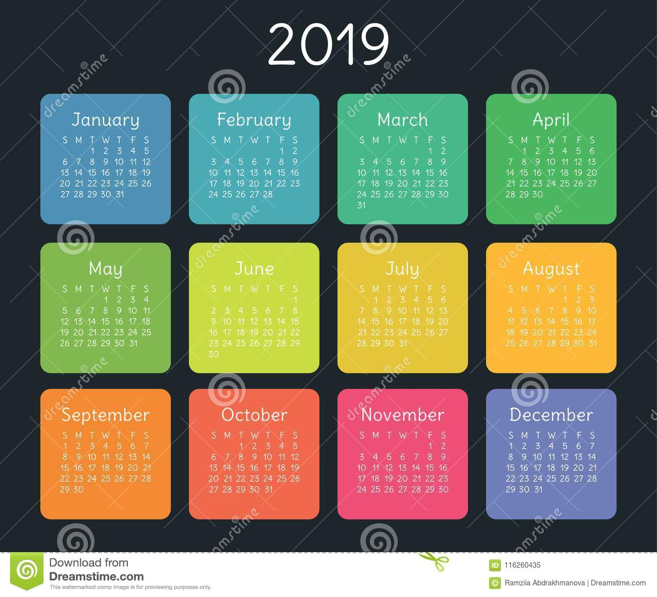 Calendar 2019 Design Template Color Kids Funny Stock Illustration