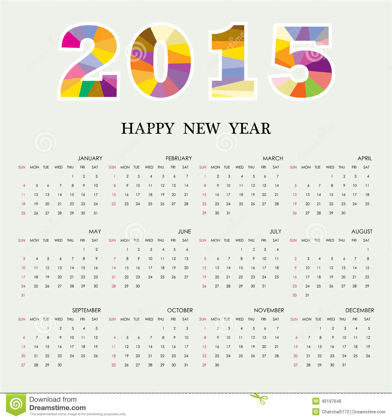 Illustration Calendar Design : Calendar design template week starts sunday stock