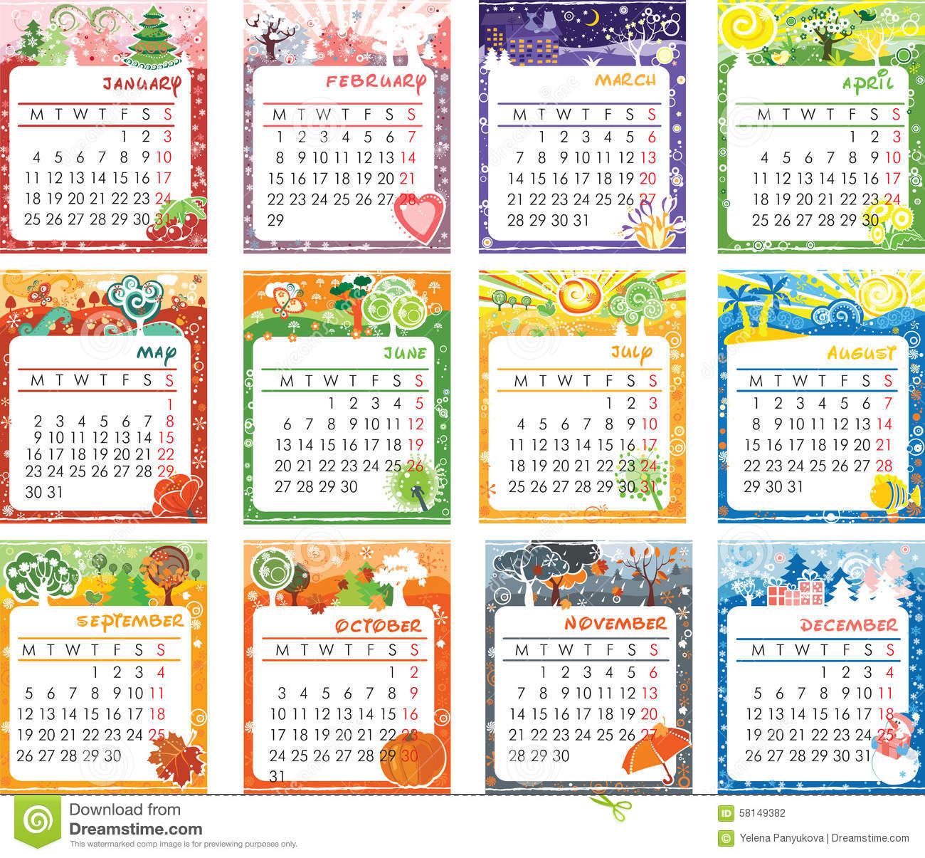 Calendar Design Ideas Vector : Calendar design stock illustration of