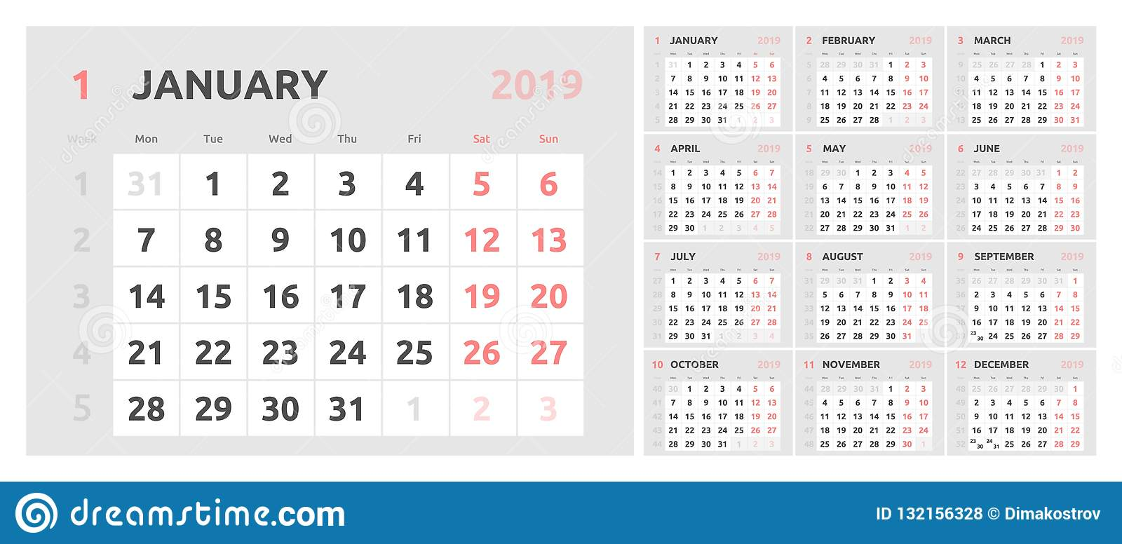 Calendar Pages To Print 2019.Calendar Design For 2019 Week Starts On Monday Stock Vector