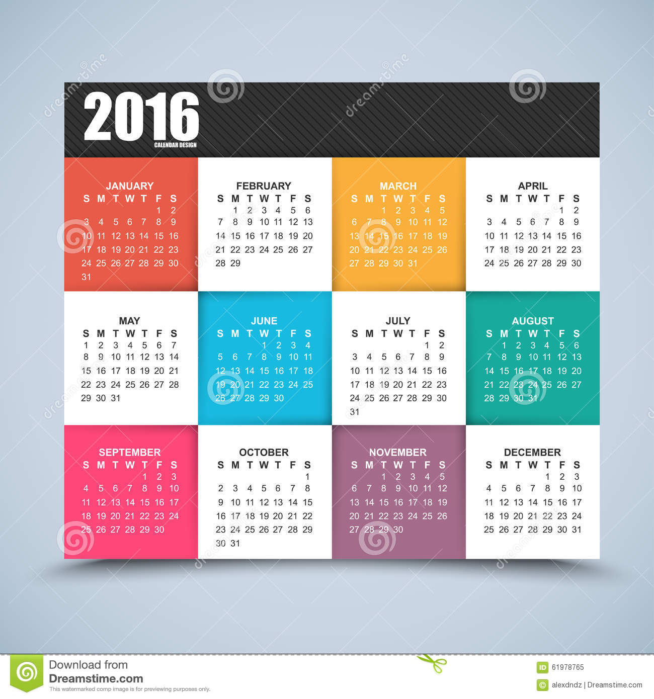 Calendar Design With Pictures : Calendar design year stock vector image