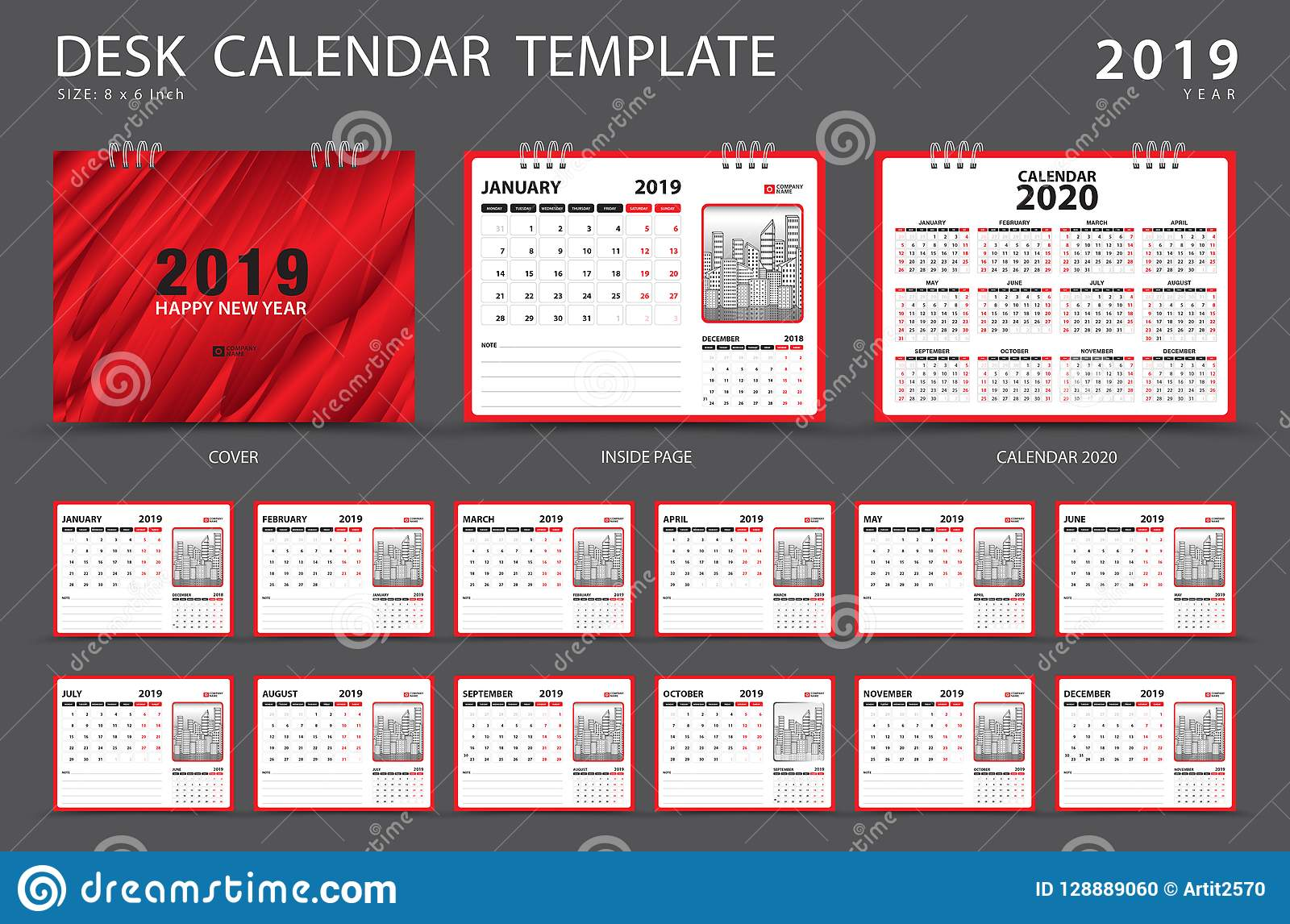 Calendar 2019 Desk Calendar Template Set Of 12 Months Planner
