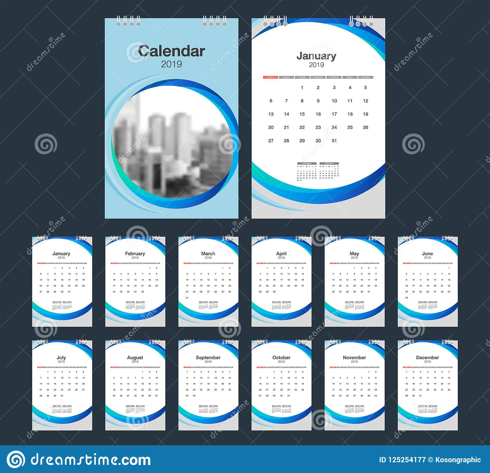 2019 Calendar Desk Calendar Modern Design Template With Place F