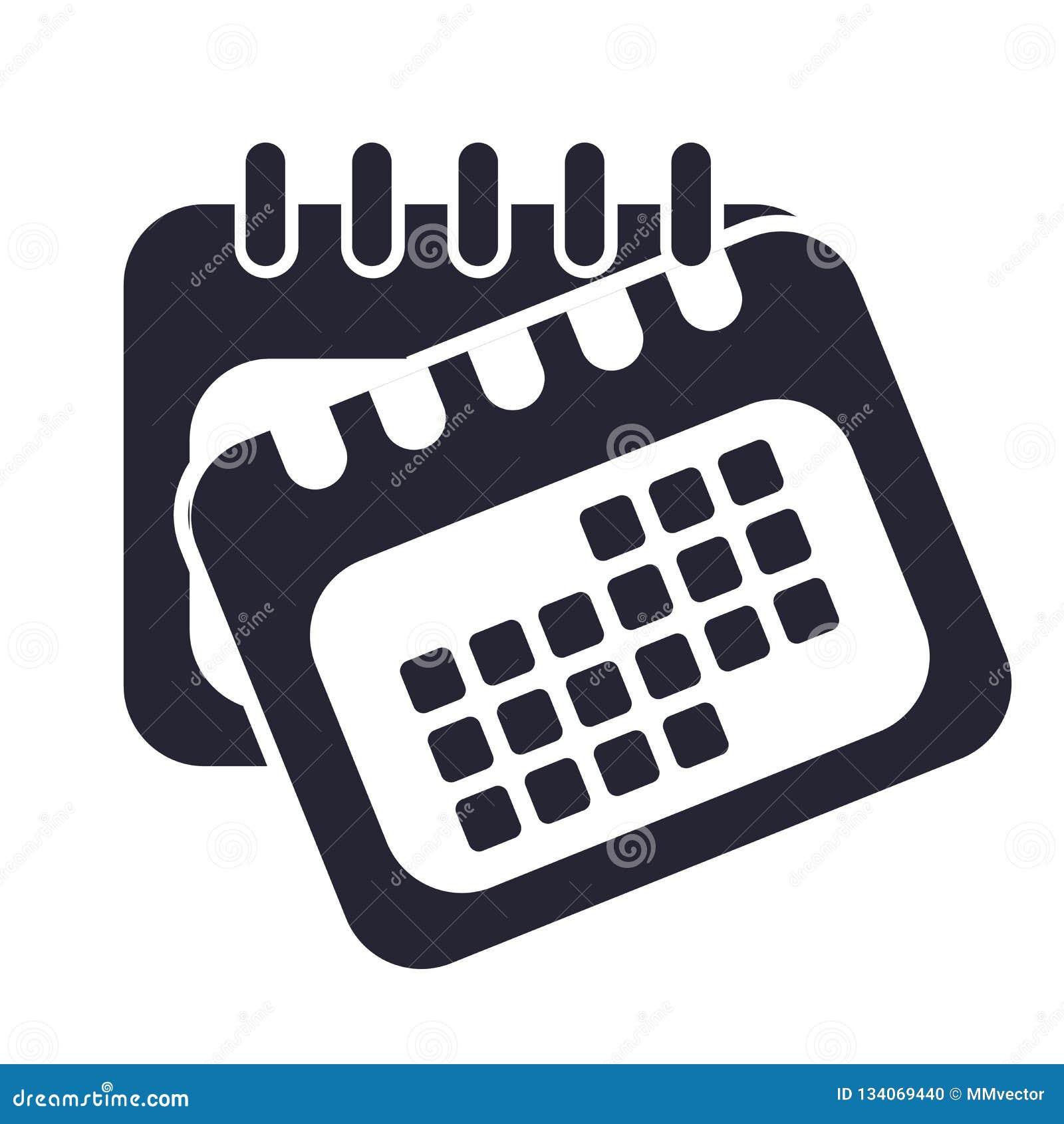 Calendar det symbolsvektortecknet och symbolet som isoleras på vit bakgrund, kalenderlogobegrepp