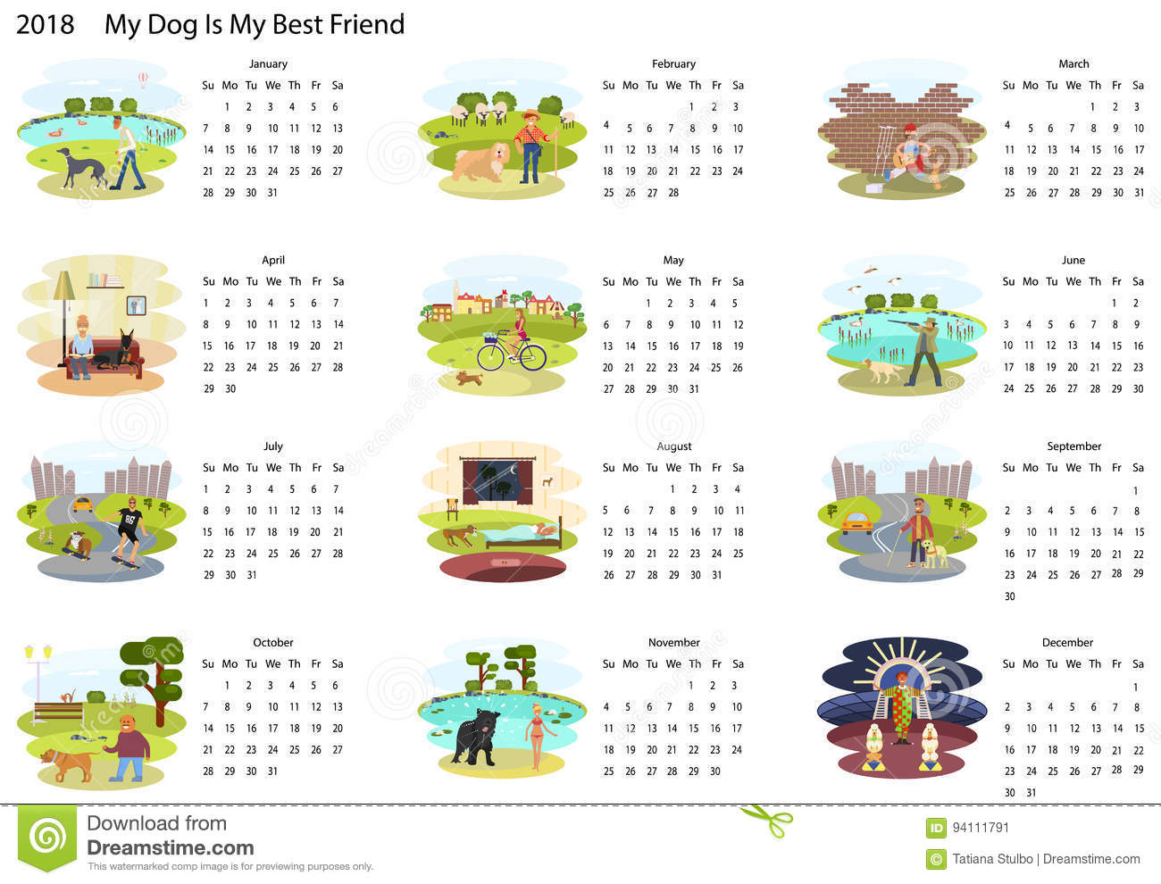 Cute Calendar Illustration : Calendar with dog stock vector illustration of card