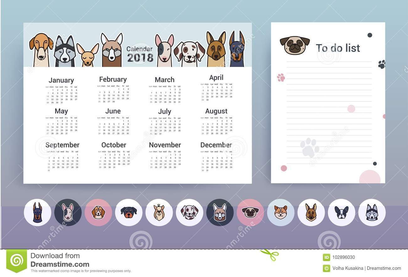 calendar with dogs  planner template stock vector