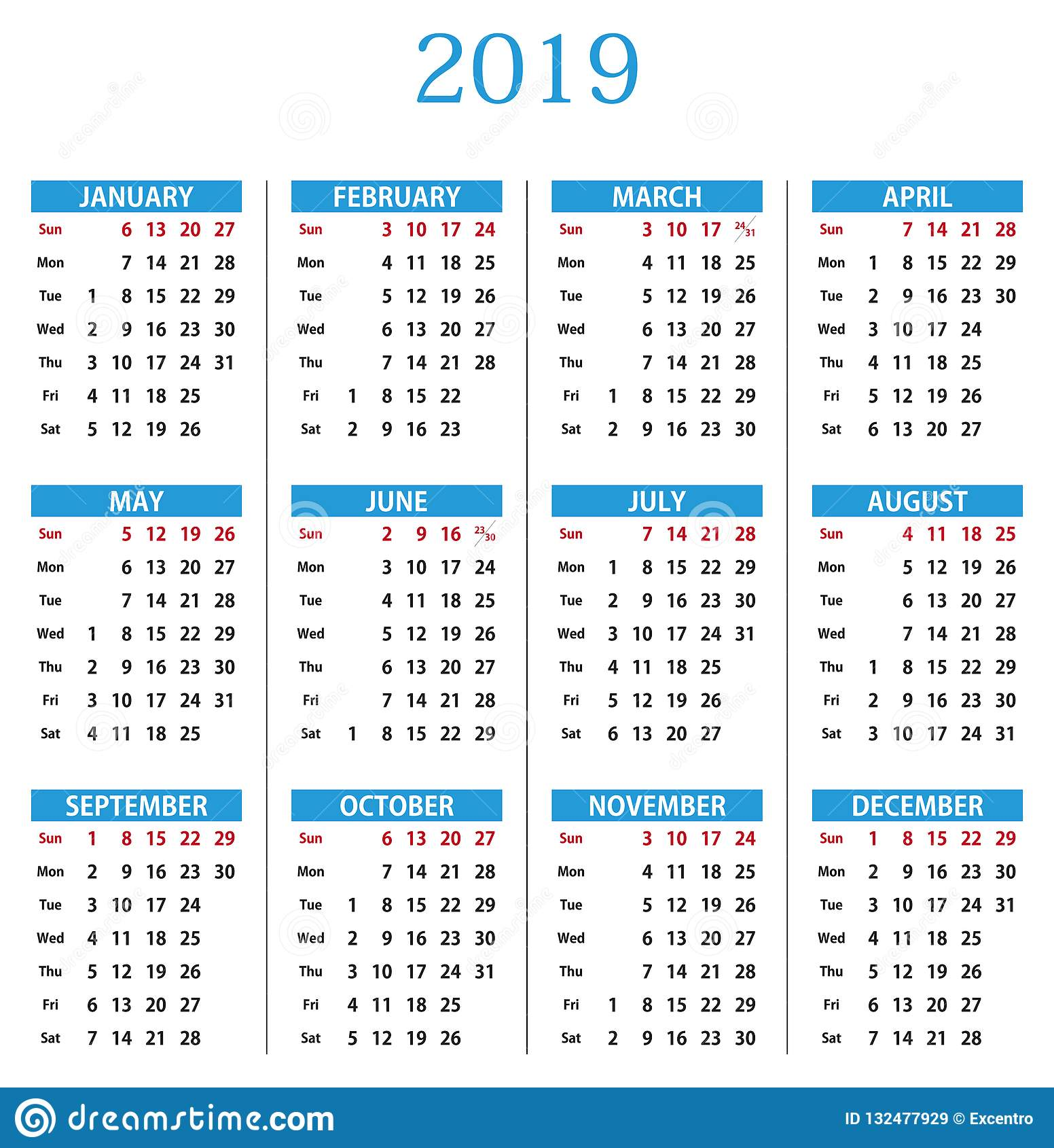 Calendar 2019 Stock Vector. Illustration Of Flower, March