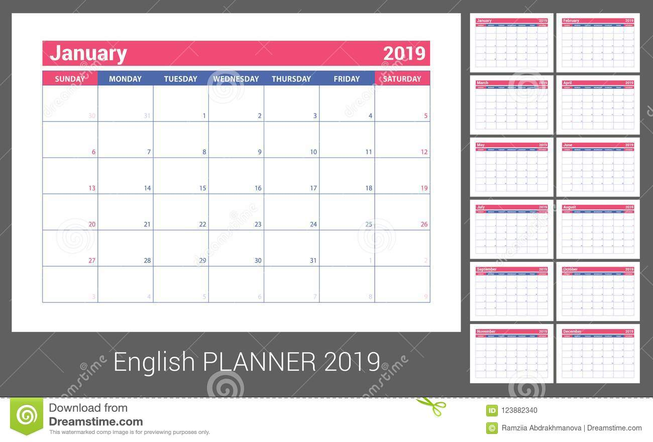 color vector template week starts on sunday business planning new year planner design