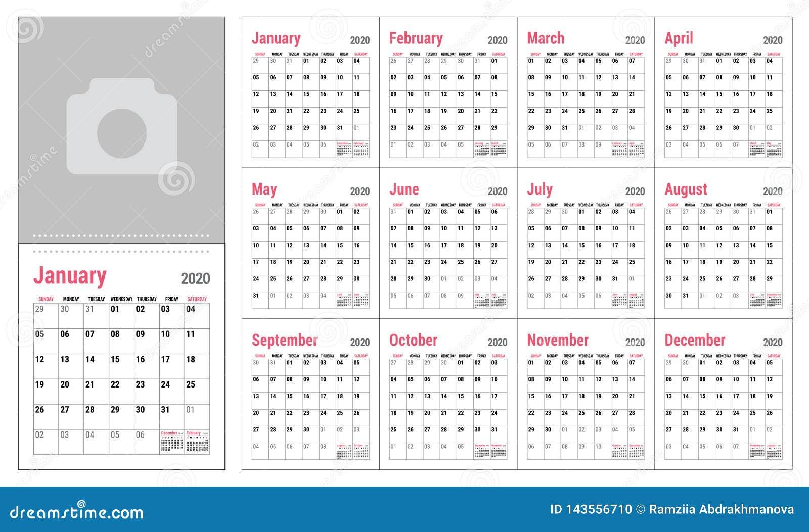 Office Calendar 2020 Calendar 2020. English Calender Template. Vector Grid. Office
