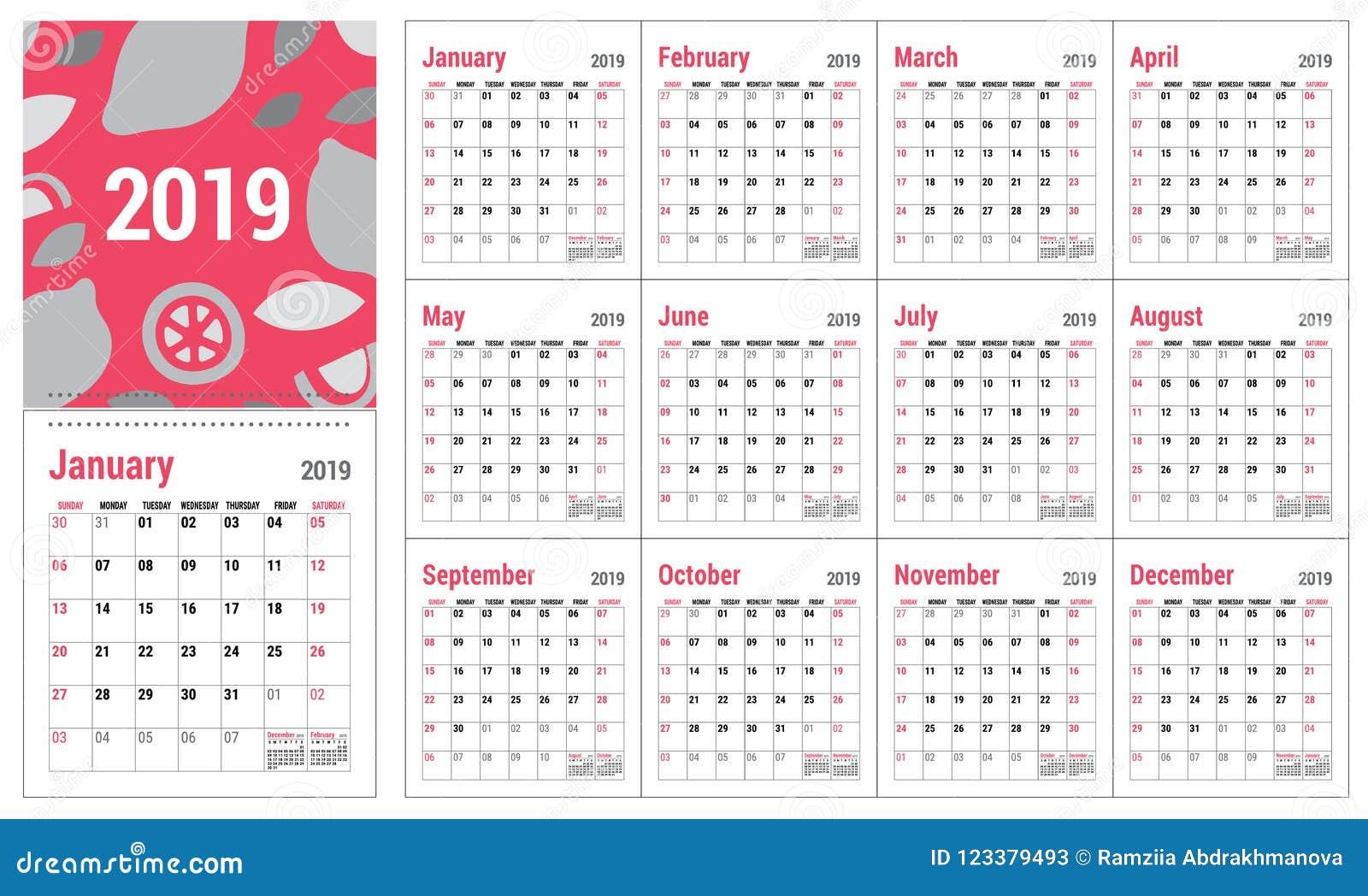 Office Calendar Template 2019 Calendar 2019. English Calender Template. Vector Grid. Office Bu