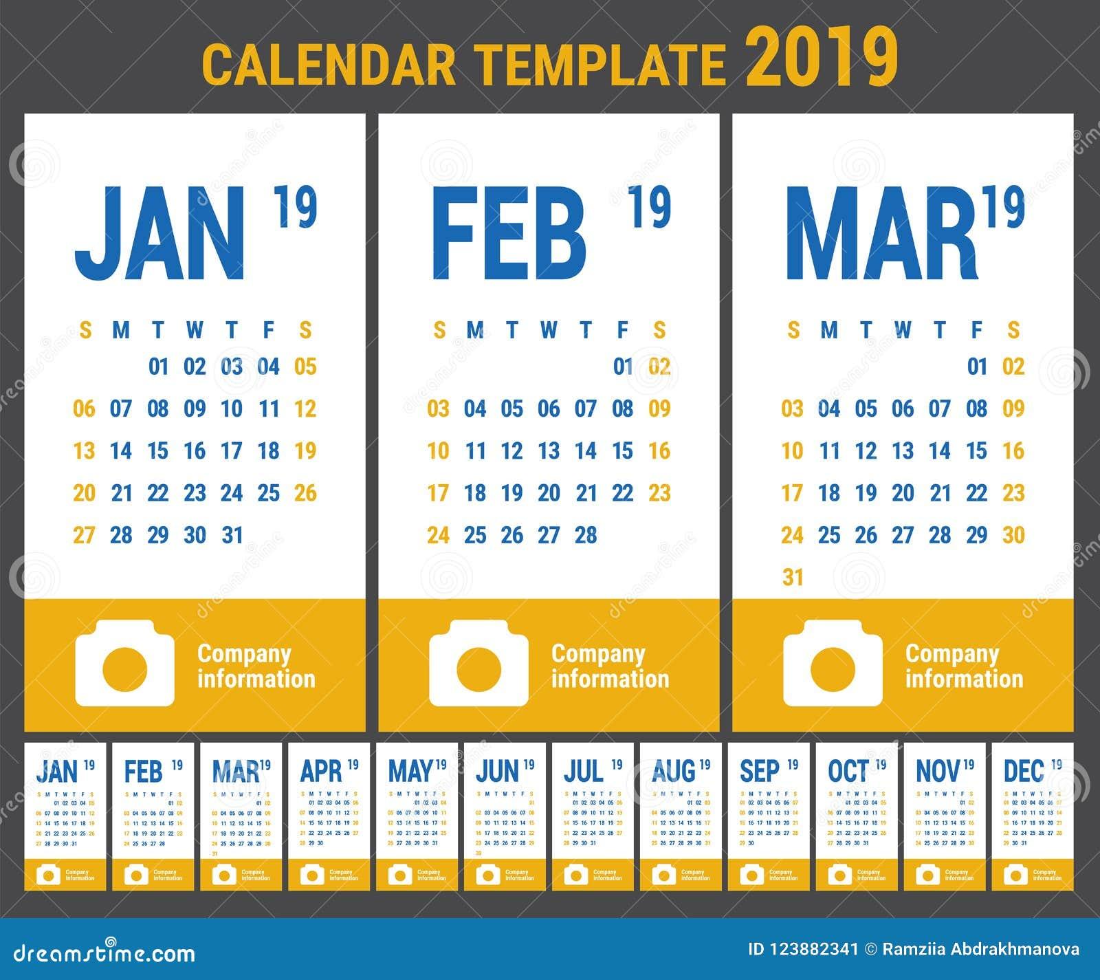 Calendar 2019 English Calender Template Vector Grid Office Bu
