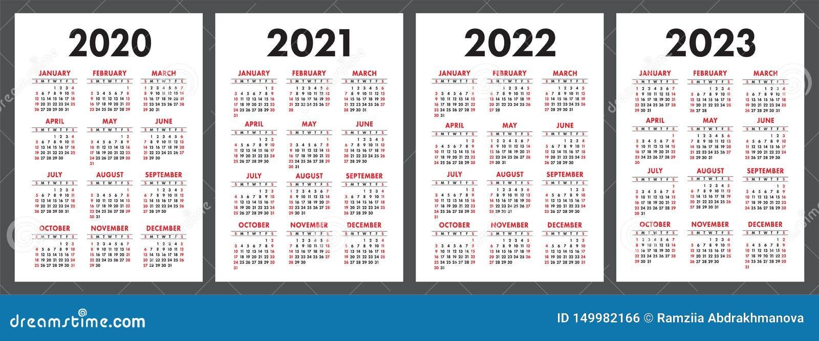 2022 Pocket Calendar Printable.Calendar 2020 2021 2022 And 2023 English Color Vector Set Vertical Wall Or Pocket Calender Template Design Collection Stock Vector Illustration Of Template Year 149982166