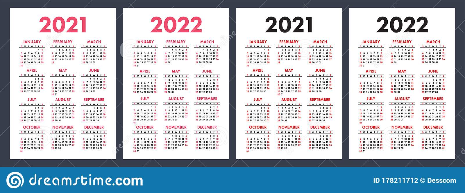 Calendar 2021 And 2022. English Color Vector Set. Vertical ...