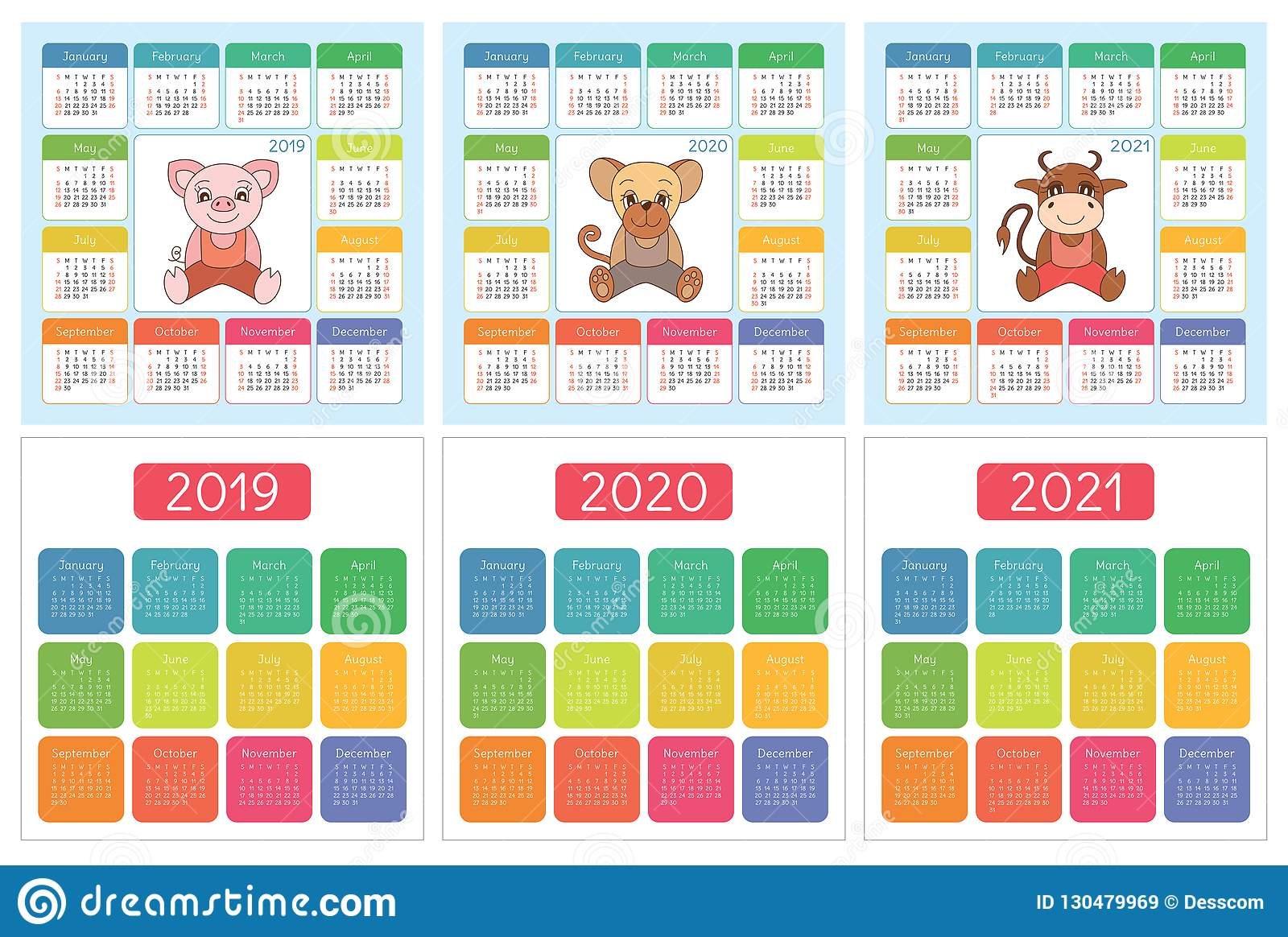 Horoscope Calendar 2020 Calendar 2019, 2020, 2021. English Colorful Set. Week Starts On